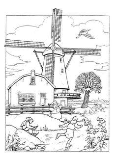 Print Windmolens kleurplaat