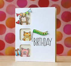 Simon Says Stamp SSS Baby Party Animals card by Laura Bassen. Bday Cards, Kids Birthday Cards, Handmade Birthday Cards, Graduation Cards, Birthday Diy, Tarjetas Diy, Birthday Card Drawing, Birthday Card Sayings, Animal Cards