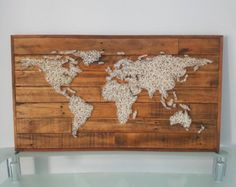 World map reclaimed barn door wood string art wall decor 39 x 29 world map string art 80 x 40 cm gumiabroncs Gallery