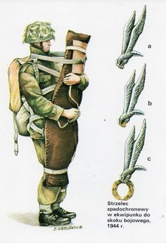 1st Polish Independent Parachute Brigade,  Paratrooper, combat jump equipment, 1944. a. Polish parachute badge.  b. Polish combat parachute badge, 1st pattern. c. 2nd pattern.