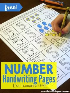 For additiinL support when students have trouble. Number Handwriting Pages {FREE} Trace and Try - This Reading Mama Numbers Preschool, Learning Numbers, Preschool Worksheets, Preschool Learning, Teaching Math, In Kindergarten, Preschool Activities, Montessori Math, Number Activities