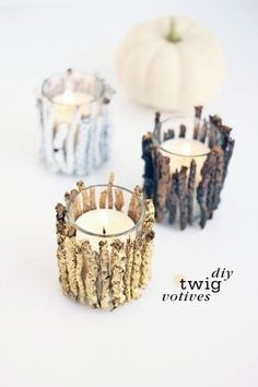 DIY Twig Votive Candle Holders- These are so cute and since I am doing a woodland deco for Christmas this year would be prefect.