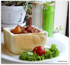 Durban Beef Bunny Chow - A yummy Durban (largest city in South Africa) street food. Beef, Chicken or Lamb vegetable curry served in a yummy bread bowl! South African Recipes, Indian Food Recipes, Asian Recipes, Real Food Recipes, Asian Foods, Wine Recipes, Beef Recipes, Chicken Recipes, Cooking Recipes