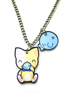 Kitty w fish necklace