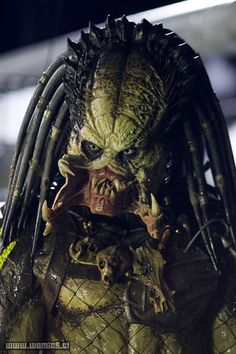 This section includes lots of official production stills from Aliens vs Predator Requiem such as the Predalien and the cast. Wolf Predator, Predator Movie, Alien Vs Predator, Predator Costume, Scary Movie Characters, Giger Alien, Science Fiction, Demon Art, Alien Art