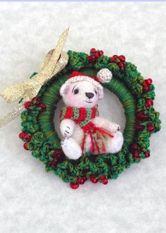 LOVE the wreath - PDF Crochet Pattern - Miniature Crocheted Amigurumi Teddy Bear and Wreath, Ornament or Pin, Beary Christmas. $7.50, via Etsy.