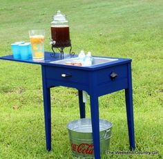 Sewing Machine - Beverage Cart Makeover by The Weekend Country Girl - Featured on Furniture Flippin'