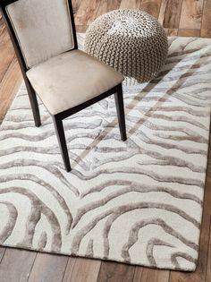Rugs USA Safari Contemporary Zebra Print with Faux Silk Highlights Grey Rug