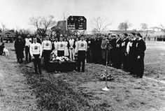 Days of campus mourning followed the death of the first MSU Bulldogs mascot Bully, as he lay in state in a glass coffin. A half-mile funeral procession accompanied by the Famous Maroon Band and three ROTC battalions went to Scott Field where Bully was buried under the bench at the 50-yard line. Even LIFE Magazine covered the event. Other Bullys have since been buried by campus dorms, fraternity houses, and also at the Mississippi State football stadium.