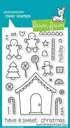 Lawn Fawn Clear Photopolymer Stamps Christmas Sweet Christmas is part of lawn Art Clear Stamps Enjoy the holiday season to the fullest by creating a fun gingerbread house for your next project T - Hansel Y Gretel, Lawn Fawn Blog, Tampons Transparents, Karten Diy, Happy Everything, Lawn Fawn Stamps, Theme Noel, Digi Stamps, Gingerbread Man