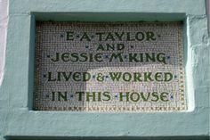 Inspiration for the outside of our cottage is flowing, from 18th Century datestones above doorways, to #ArtsandCrafts Movement mosaics such as this one, above the doorway of E.A. Taylor and Jessie M. King's house in #Kirkcudbright. It's the Arts and Crafts Movement, Art Nouveau and Art Deco that inspire us particularly, not least because of our collection of objects from this time. We'll share our own design for above the cottage doorway in the coming months…