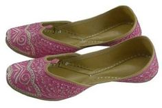 Womens Pink Embroidered #Indian #Shoes #Handmade Leather Jutti / Mojari $36.99 Save 38% (Retail: $59.99)