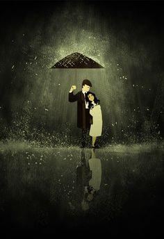 Life umbrella book illustration by Pascal Campion Umbrella Art, Under My Umbrella, Small Umbrella, Arte Black, Pascal Campion, Love Rain, Singing In The Rain, Love Illustration, Cultura Pop