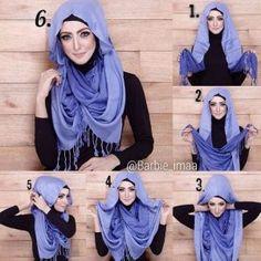 New hijab style Hijab Simple, Simple Hijab Tutorial, Hijab Style Tutorial, Turban Hijab, Mode Turban, Tutorial Hijab Pesta, Pashmina Hijab Tutorial, Islamic Fashion, Muslim Fashion