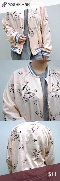 BOMBER JACKET This pink floral bomber jacket is great for the winter. This Jacket has no stains or rips so its in great condition and if you have any questions comment down below. Xhilaration Jackets & Coats