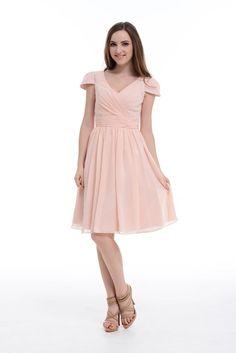 Aline Vneck Short Chiffon Bridesmaid Dress With Cap by DressbLee, $89.00