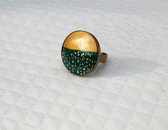Bague cabochon FIMO fait main vert teal et or - Montée sur support métal couleur bronze-Collection Week End : Bague par perles-et-petales