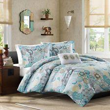 Full/Queen 4-piece Comforter Set Girls Teens Blue Bedding Bedroom Paisley Soft