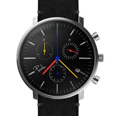 C200-C Chronograph (brushed/black/multi) watch by Paulin. Available at Dezeen Watch Store: www.dezeenwatchstore.com