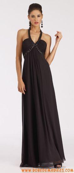 Robe moseste en satin et mousseline de soie avec bretelle au cou ornée de cristaux noirs robe de cocktail longue