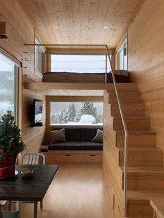 Snow Cross Tiny Home Vacation in Red Cliff, Colorado This is the Snow Cross Tiny Home on wheels. It's an ESCAPE ONE tiny house vacation in Red Cliff, Colorado that you can book on Airbnb. It's located about 25 minutes from Vail, 10 minutes from Tiny House Loft, Best Tiny House, Tiny House Living, Tiny House Plans, Tiny House Design, Home Living Room, Small Living, Living Area, Renovation Design