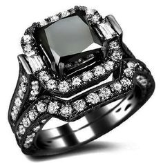 6.10ct Black Princess Cut Diamond Engagement Ring Bridal Set 18k Black Gold