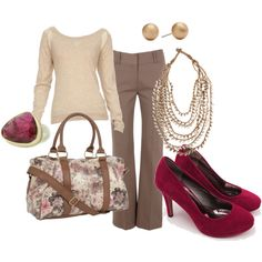 Haute Hippie sweatshirt with chiffon insets, high waisted kick flare trousers in mink, wine red suede pumps, taupe necklace with braided straps, brushed gold ball stud earrings, pink tourmaline ring, brown snakeskin look bowling handbag