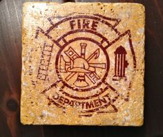 firefighter coasters, buy on etsy.com, poshdiggs is the seller....or DIY