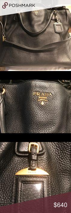 Prada handbag, like new! Soft, but durable black leather handbag with original Dust cover.  Classic design and lots of room! Prada Bags Shoulder Bags