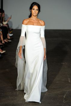 Sheath wedding dress with off-the-shoulder floor-length sleeves and beading