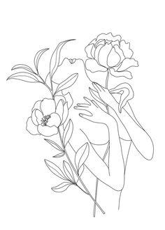 Minimalist art 532058143481349786 - Minimal Line Art Woman with Peonies Unisex Tank Top by Nadja – Black – MEDIUM – Unisex Tank Top Source by zoikigai Line Art Tattoos, Cute Tattoos, Men Tattoos, Minimalist Drawing, Minimalist Art, Drawing Sketches, Art Drawings, Logo Sketches, Outline Art