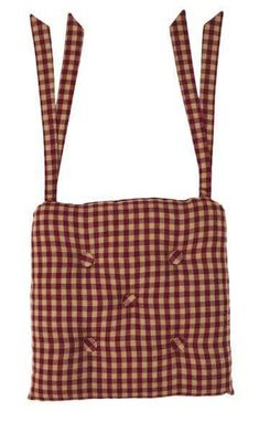 Burgundy Check Chair Pad 15 x 15 from VHC Brands (Victorian Heart). This burgundy and khaki check chair pad features cotton fabrics and also contains a 100 Red Barns, Hanging Swing Chair, Rustic Country Furniture, Chair Ties, Kitchen Chair Pads, Chair Pads, Country Decor Rustic, Patchwork Chair, Primitive Kitchen