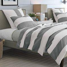 gray chevron bedding full size   Bedding - Stripe Duvet Cover + Shams   west elm - gray, stripe, duvet