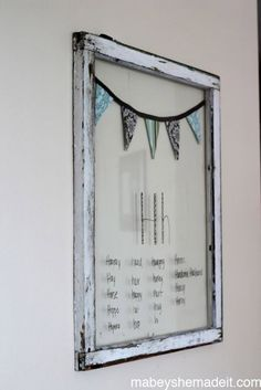 Two ideas for using reclaimed windows. Message Board by Mabey She Made It #reclaimedwindow #messageboard