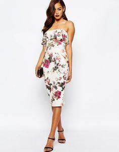 ASOS Ruffle Print Bandeau Midi Dress