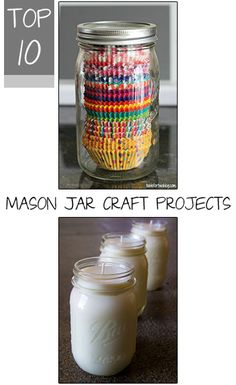 Top 10 Mason Jar Craft Projects. How to upcycle a mason jar, storage ideas, DIY mason jar crafts and projects and more.