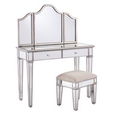 This mirrored vanity set brings glamorous appeal to your powder room or master suite.   Product: Vanity and stoolCons...