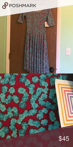 BNWT Small Nicole Red and Teal flower patterned Nicole dress LuLaRoe Dresses