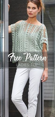 Free crochet lace top pattern Free crochet lace top pattern Learn the fact (generic term) of how to Blouse Au Crochet, Crochet Tunic Pattern, Crochet Shirt, Crochet Cardigan, Free Crochet Top Patterns, Crochet Vests, Lace Sweater, Crochet Sweaters, Moda Crochet