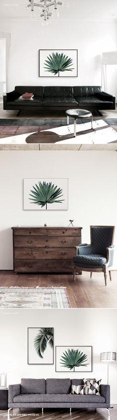 텐바이텐 10X10 : 메탈 모던 아트 인테리어 자연 나무 식물 액자 나뭇잎 B