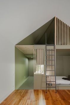 Minimalist home with sectioned spaces.