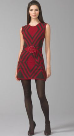 $60 Alice + Olivia Red/Brown Diamond Print Wool Dress