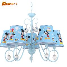 110V 220V LED E14 Children's Chandelier American Simple Cartoon Creative Five Hanging Living Room Modern Iron Lamp Children