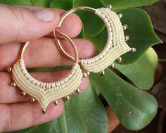 tribal ivory and gold hoop earrings macrame by yasminsjewelry