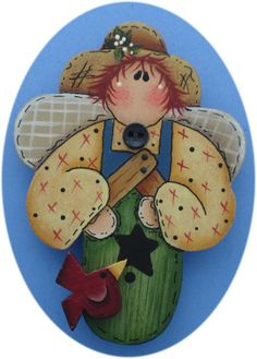 Summer Angel Bird House Pin Hand Painted Wood by CarolAnnsTole