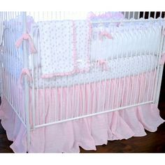 Found it at Wayfair - Butterfly Tales Cotton 4 Piece Crib Bedding Set. Simple look to addd the cream to. Crib Bed Skirt, Crib Skirts, Baby Girl Bedding Sets, Crib Bedding Sets, Bumper Pads For Cribs, Best Crib, Girl Cribs, Baby Cribs, Portable Crib