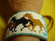 Native American Seed Bead Patterns | Running Horses pattern, Delica Seed-beaded Bracelet. Fits Men a nd ...