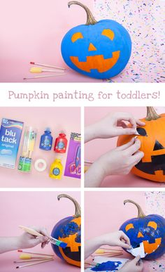 Painted pumpkin craft for toddlers | Unleash your child's creativity with this fun Halloween craft idea – go wild with paint, glitter and whatever decorations you like to make a unique pumpkin masterpiece!
