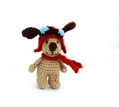 Items similar to aviator dog crochet dog puppy with aviator hat handmade miniature dog tiny dog creature cartoon character dog doll little puppy gift on Etsy