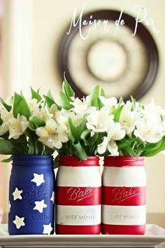 Flag painted Mason jars